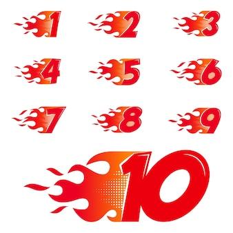 Numeri brucianti impostati. numeri di stile piano fiamma isolati su priorità bassa bianca. illustrazione vettoriale.