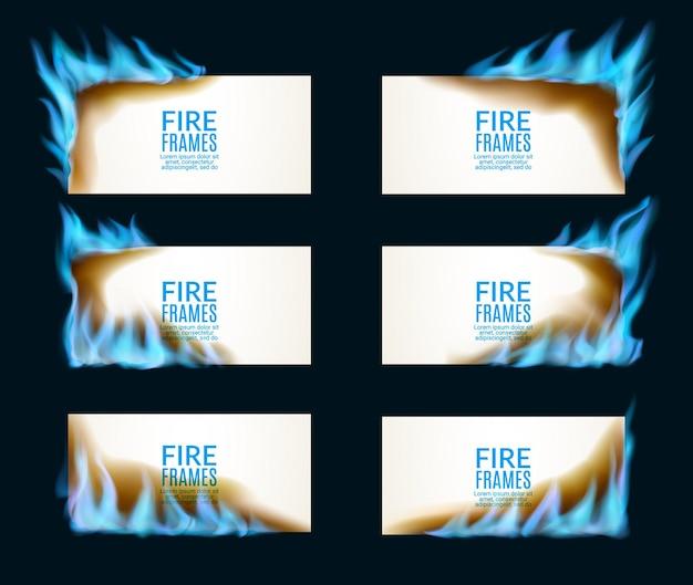 Striscioni di carta in fiamme con fiamme di gas naturale. promozione dell'offerta calda di vendita, soluzione di riscaldamento o forgiare banner pubblicitari con fiamme realistiche di vettore magico, lati del fuoco di luce blu incandescente, angoli caldi fiammeggianti