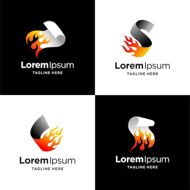 Logo di carta in fiamme con più concetti