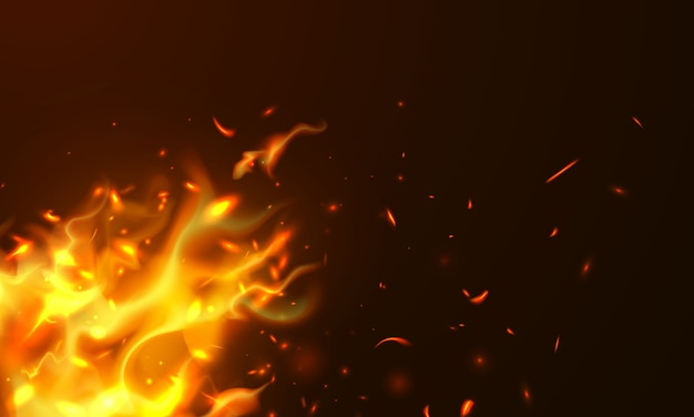 Il fuoco realistico delle scintille roventi brucianti fiammeggia il fondo astratto