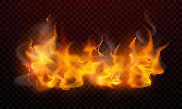Le fiamme ardenti realistiche bruciano le scintille roventi