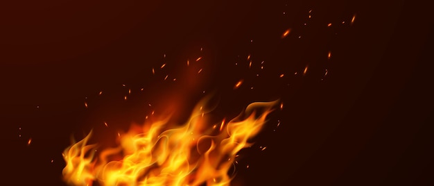 Burning red hot scintille realistiche fiamme di fuoco