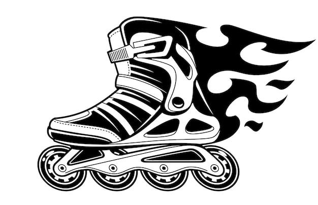 Masterizzazione di pattini a rotelle in movimento su bianco. illustrazione in bianco e nero.