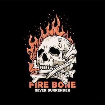 Illustrazione di teschio vintage in fiamme con osso incrociato