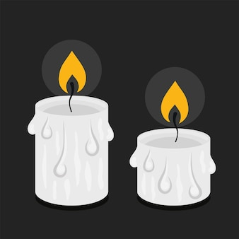 Candele di cera in stile cartone animato. illustrazione vettoriale per halloween, stregoneria