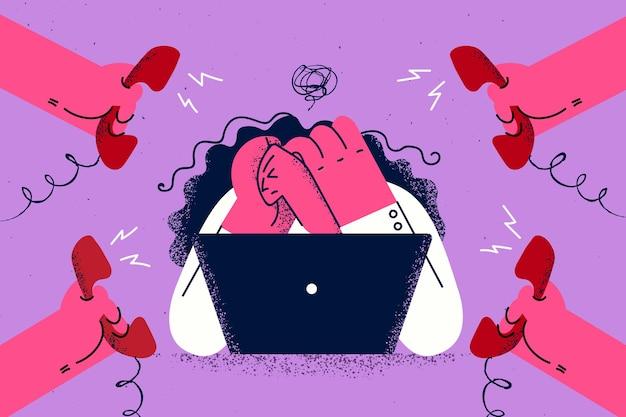 Stress da burnout e concetto di esaurimento Vettore Premium