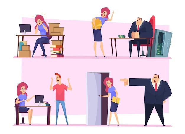 Lavoro esaurito. business manager roba pigro che lavora capo arrabbiato cattiva atmosfera dipendente irrispettoso persone nervose
