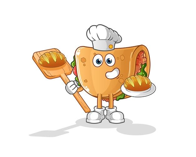 Burrito baker con cartone animato di pane. mascotte dei cartoni animati