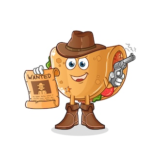 Burrito cowboy tenendo la pistola e voleva poster illustrazione. carattere