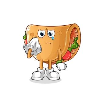 Burrito piange con un carattere di tessuto. mascotte dei cartoni animati