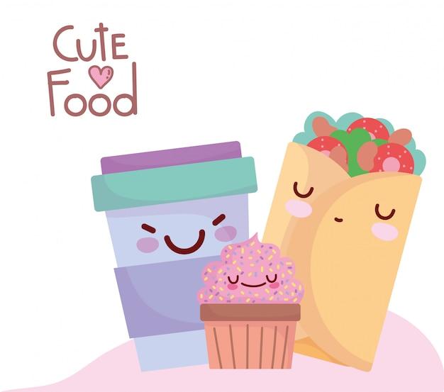 Burrito cupcake frullato tazza menu personaggio dei cartoni animati cibo carino