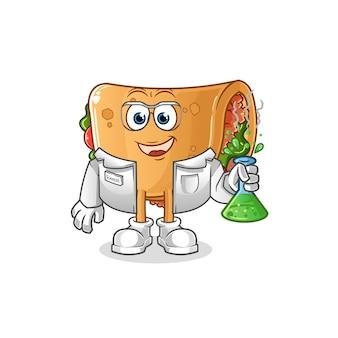 Carattere di scienziato burrito. mascotte dei cartoni animati