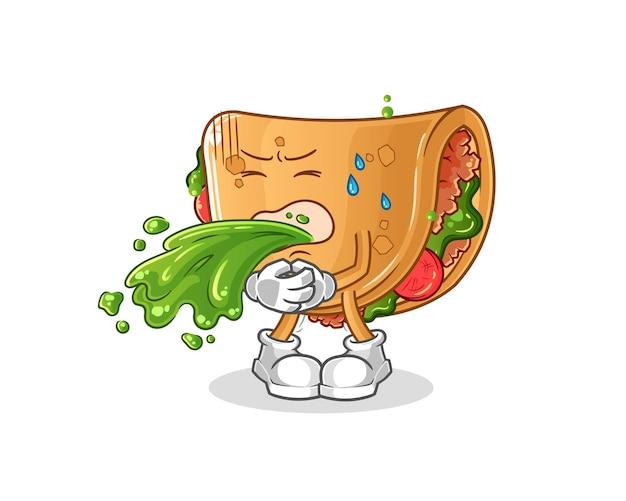 Burrito vomitare cartone animato. mascotte dei cartoni animati