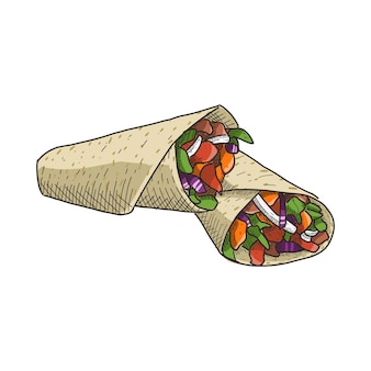 Burrito in stile vintage disegnato a mano. pronto per ogni esigenza.