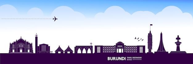 Burundi deep purple destinazione di viaggio illustrazione vettoriale