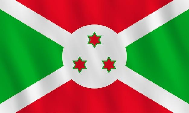 Bandiera del burundi con effetto ondeggiante, proporzione ufficiale.