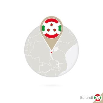 Mappa e bandiera del burundi in cerchio. mappa del burundi, perno della bandiera del burundi. mappa del burundi nello stile del globo. illustrazione di vettore.