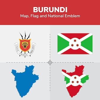 Burundi map, flag and national emblem