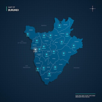 Mappa del burundi con punti luce al neon blu