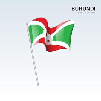 Burundi sventolando bandiera isolata su gray