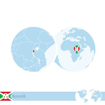 Burundi sul globo del mondo con bandiera e mappa regionale del burundi. illustrazione di vettore.