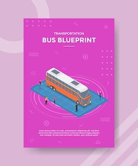 Concetto di progetto di autobus per banner modello e volantino con stile isometrico