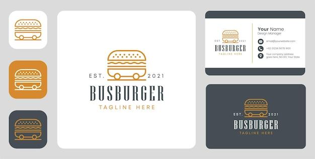 Logo di hamburger di autobus con design stazionario