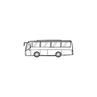 Icona di doodle di contorni disegnati a mano di autobus. trasporto pubblico e stazione, viaggio in autobus e turismo, concetto di traffico cittadino