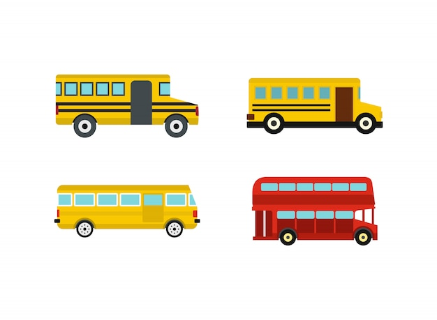 Set di icone del bus. insieme piano della raccolta delle icone di vettore del bus isolato