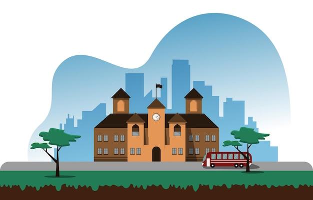 Autobus scuola edificio studio apprendimento educazione illustrazione vettoriale