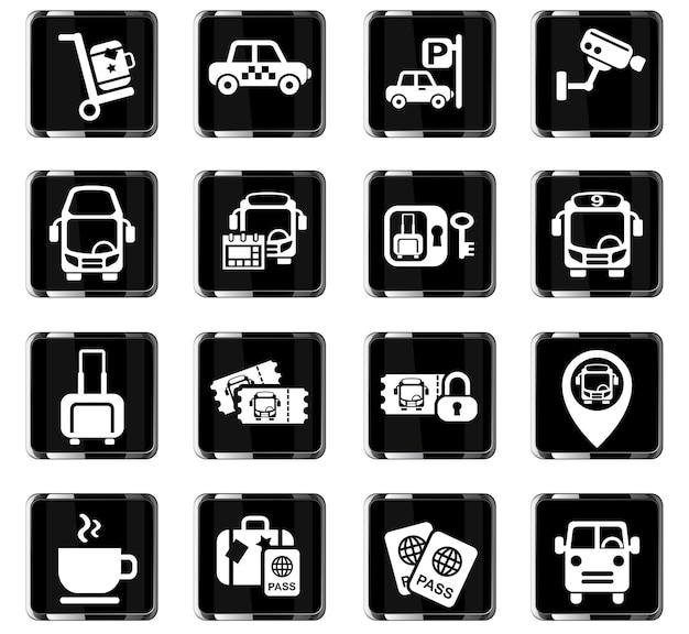 Icone web della stazione degli autobus per la progettazione dell'interfaccia utente
