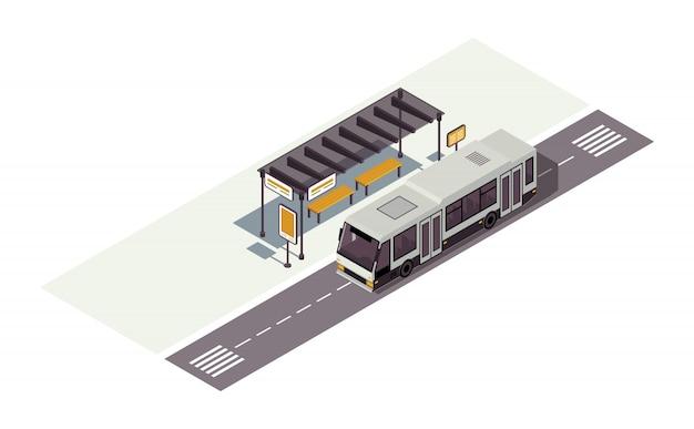 Illustrazione di colore isometrica della fermata dell'autobus. stazione di attesa. infografica del trasporto pubblico urbano. trasporto urbano. traffico cittadino. concetto automatico 3d isolato su fondo bianco