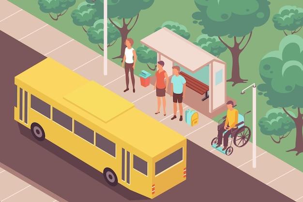 Composizione isometrica di persone alla fermata dell'autobus con paesaggio all'aperto e autobus giallo vicino alla fermata con persone in attesa