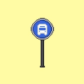 Segnale della fermata dell'autobus con stile pixel art