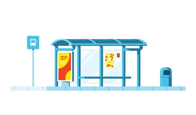 Fermata dell'autobus con segno di fermata dell'autobus e cestino su sfondo bianco. .