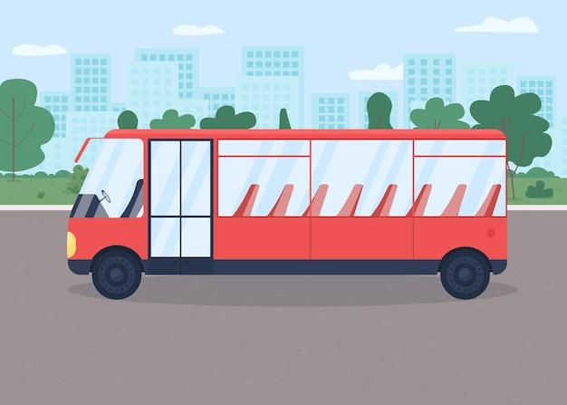 Autobus sulla strada illustrazione a colori.