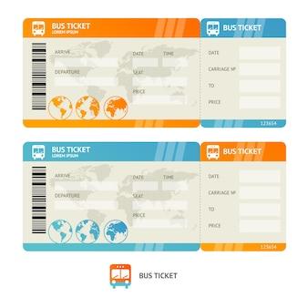 Biglietto dell'autobus isolato. modello di progettazione.