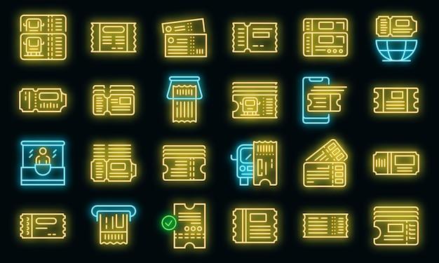 Set di icone di biglietteria per autobus. delineare l'insieme delle icone vettoriali di biglietteria degli autobus colore neon su nero