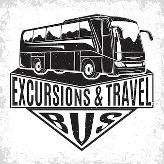 Design del logo aziendale di viaggio in autobus