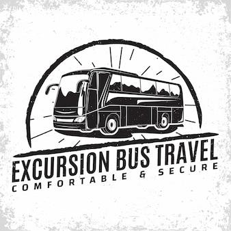 Design del logo aziendale di viaggio in autobus Vettore Premium