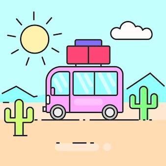 L'autobus viaggia per il mondo illustrazione vettoriale pronto per il tuo design, biglietto di auguri, banner