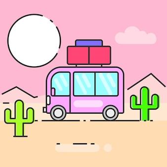 L'autobus viaggia per il mondo illustrazione vettoriale per le tue esigenze
