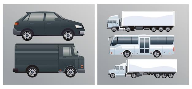 Autobus e camion con veicoli in stile mockup del marchio