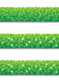 Siepe di cespugli e piccoli fiori isolati. modello senza cuciture del recinto dei cespugli verdi.