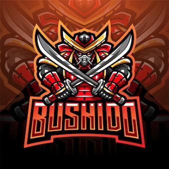 Disegno logo mascotte bushido esport