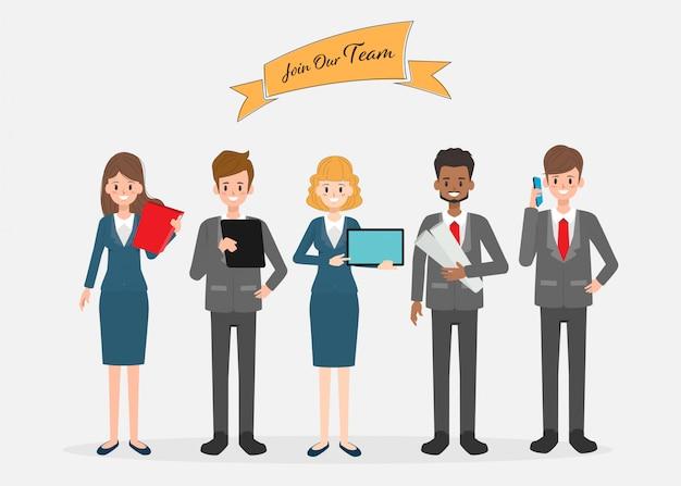 Busines persone personaggio di lavoro di squadra. Vettore Premium