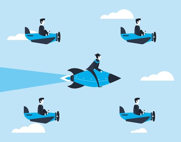 Uomini d'affari in aeroplani e razzi
