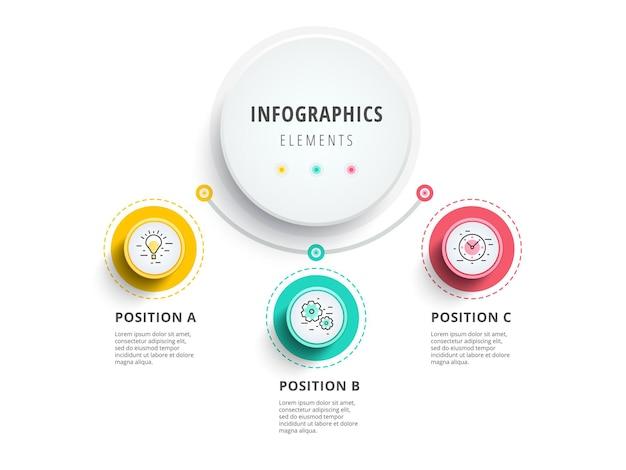 Infografica del grafico del processo aziendale in 3 fasi con cerchi a gradini elementi grafici aziendali circolari c
