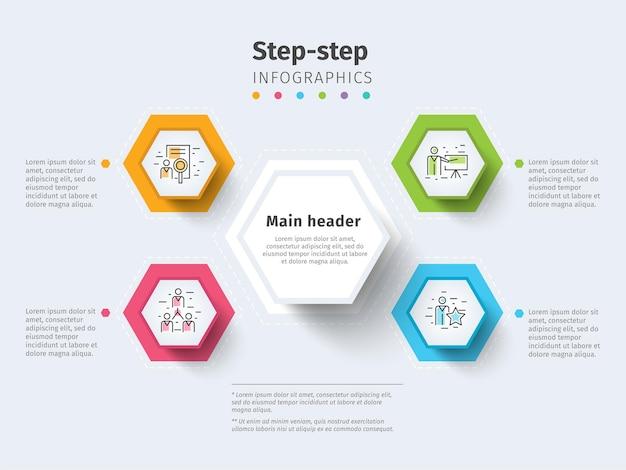 Infografica del grafico del processo aziendale in 4 fasi con cerchi a gradini elementi grafici aziendali luminosi