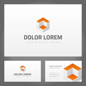 Modello di logo del cubo isometrico della carta astratta di affari